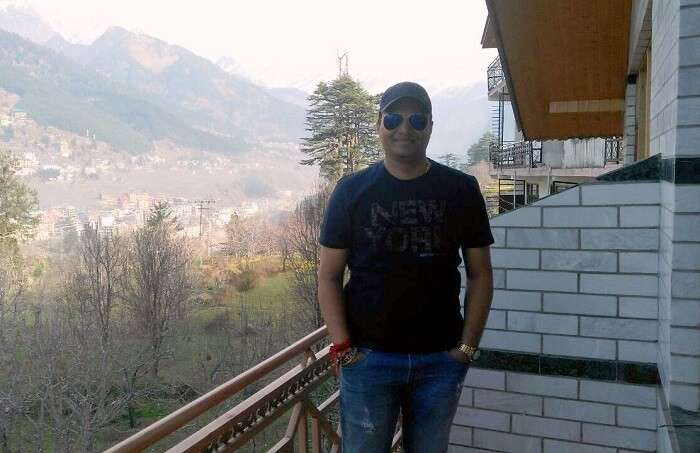 kuldeep manali honeymoon trip: kuldeep atop the vashisht temple