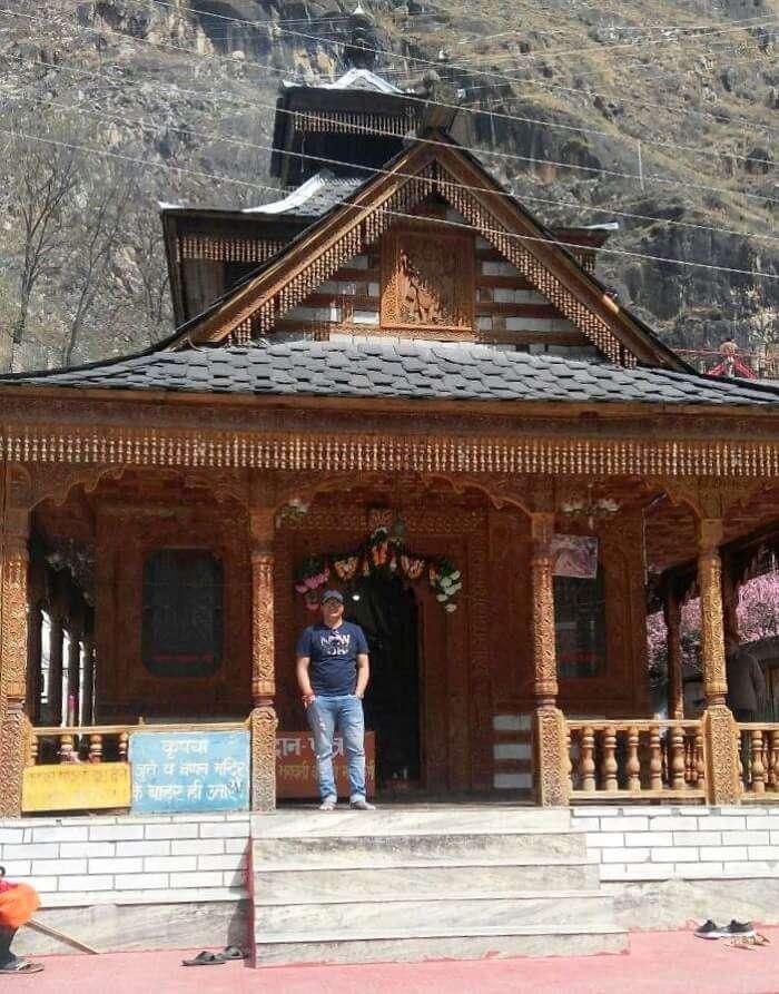 kuldeep manali honeymoon trip: kuldeep outside vashisht temple