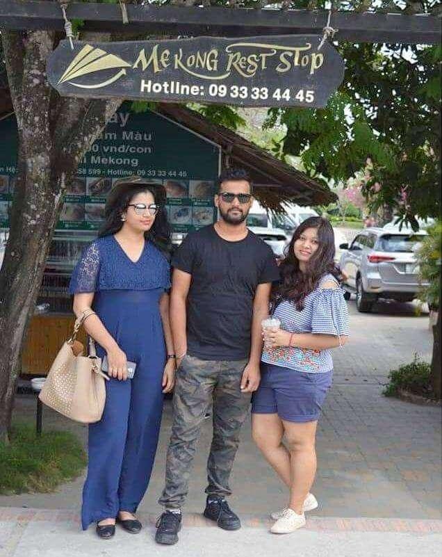 pallavi vietnam family trip: near restaurant