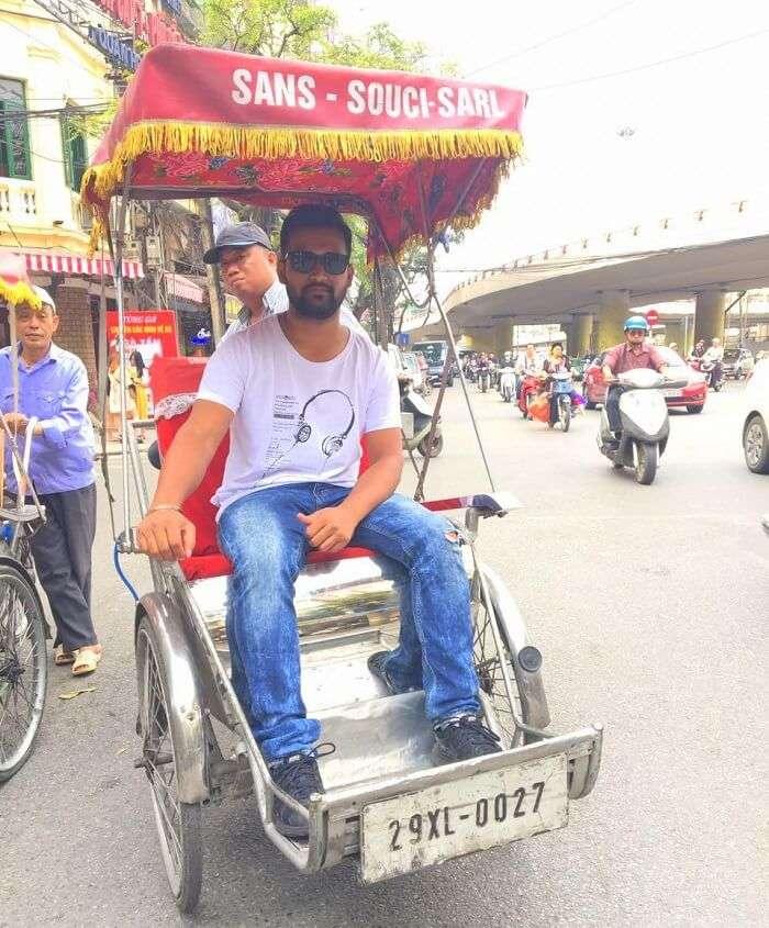 pallavi vietnam family trip: in vietnamese rickshaw