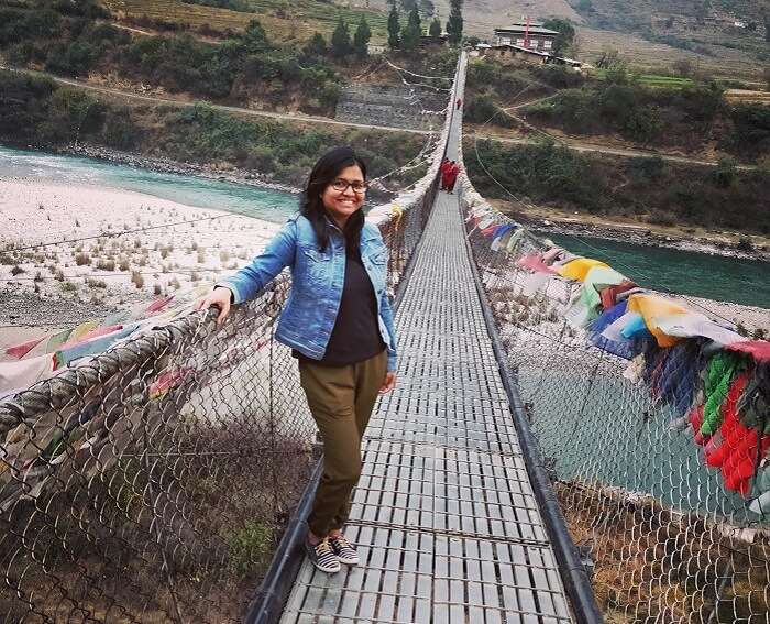shakti on a bridge in bhutan
