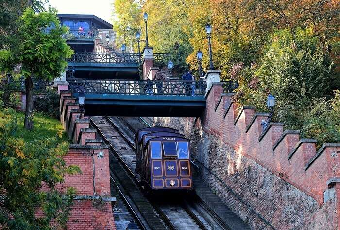 Ride the funicular up to Buda Castle in budapest Hungary