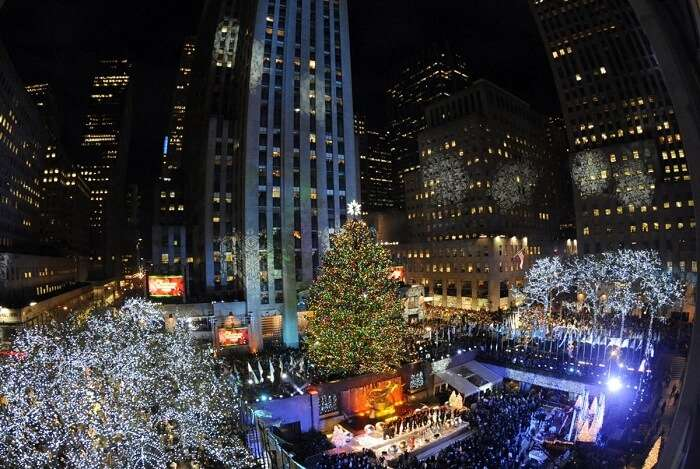 ice skate under the huge Rockefeller tree