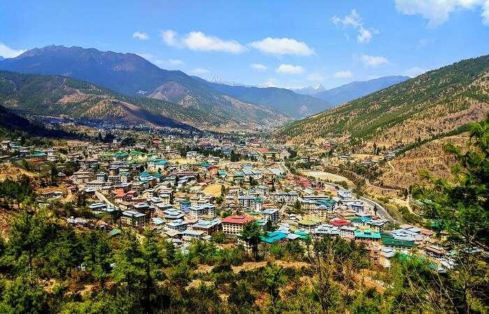 Skyline views of Thimphu Bhutan
