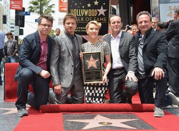 """Scarlett Johansson Of """"Marvel's The Avengers"""" Honored On The Hollywood Walk Of Fame in los angeles"""