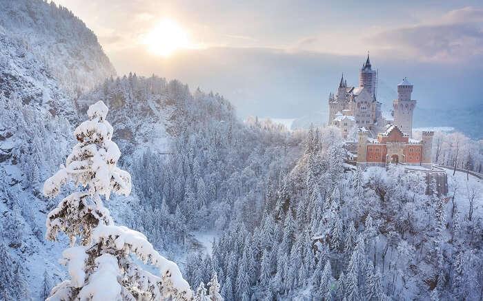 A beautiful view of Neuschwanstein Castle during winter