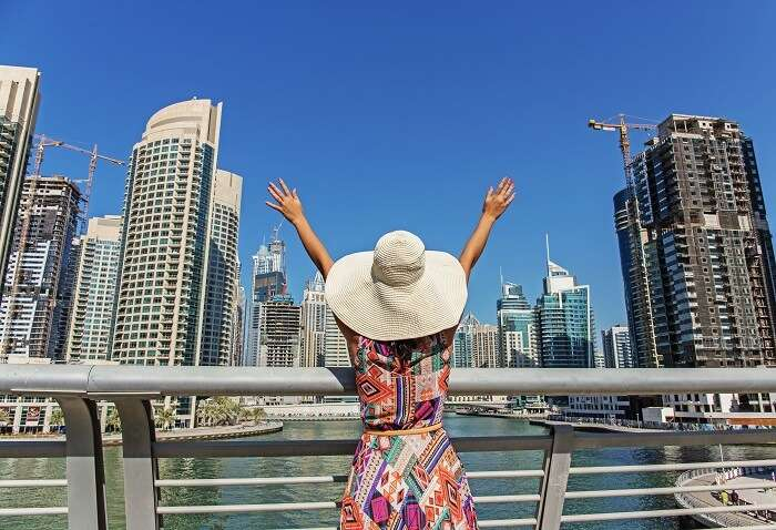 dubai i june: girl with hat