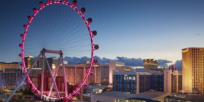 an observation wheel in the middle of the Strip