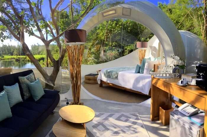 mauritius bubble lodge interior day