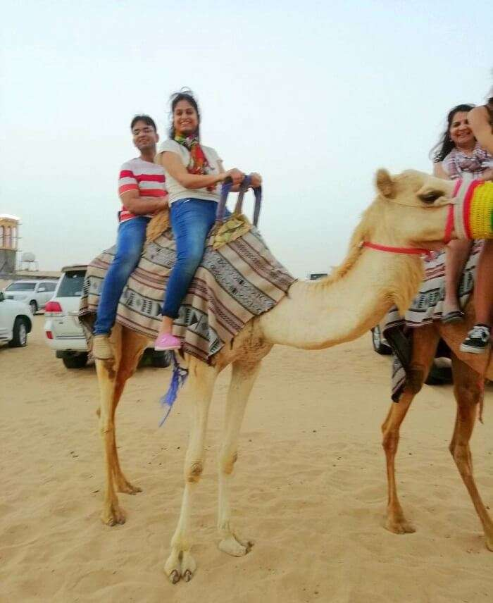 ashish singhal dubai honeymoon trip: camel riding