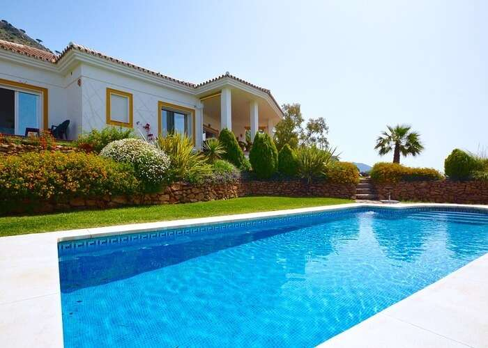 lush pool in the villa