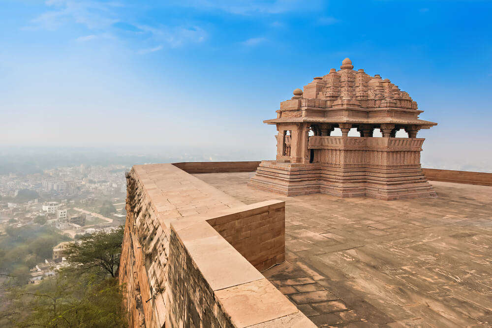 view from the terrace of one of the buildings in Gwalior Fort