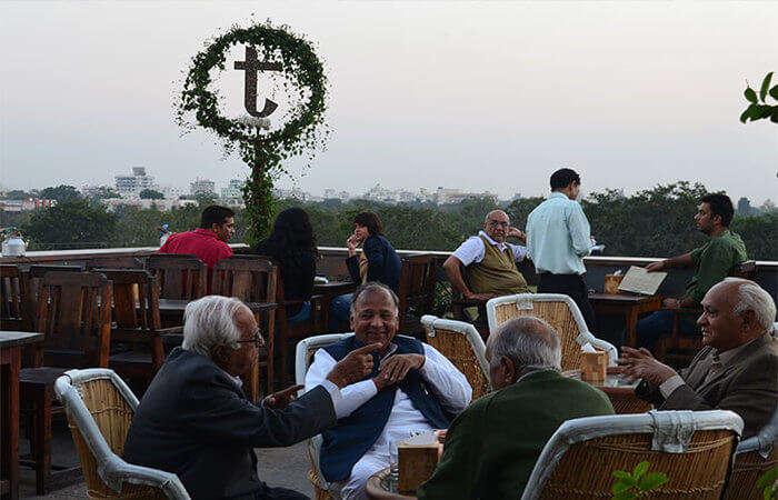 Terrace seating at Tapri