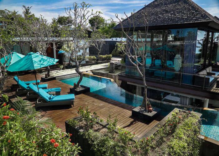 Roof top pool and gazebo at Villa Aum