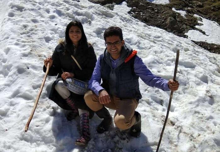 couple enjoying the snow