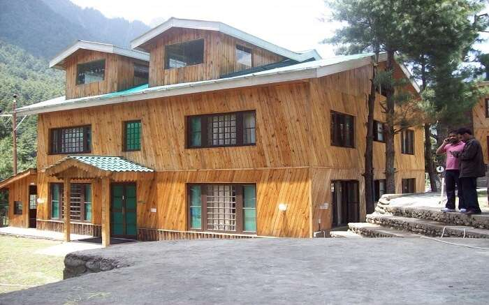The Pine Palace Resort made of wood in mountains