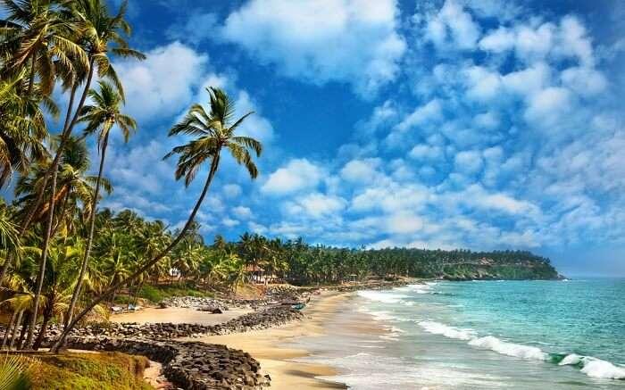 The gorgeous beach in Kerala