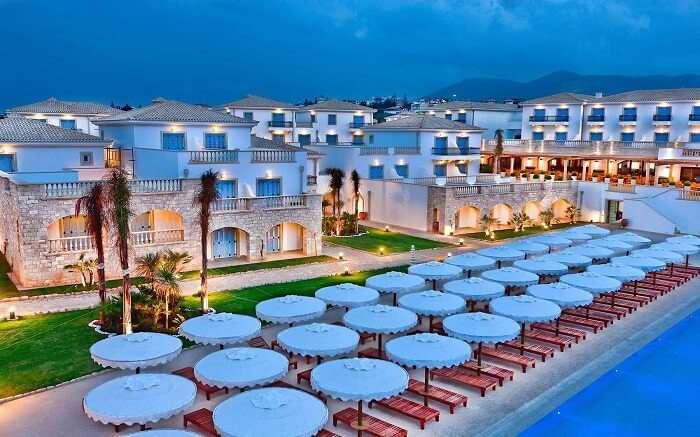 a gorgeous resort with so many sundecks on the beach