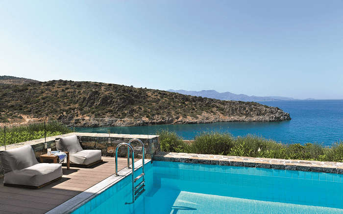 a terrace pool overlooking the sea in Greece ss