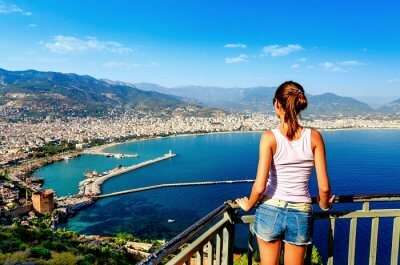 woman looking at the sea in antalya