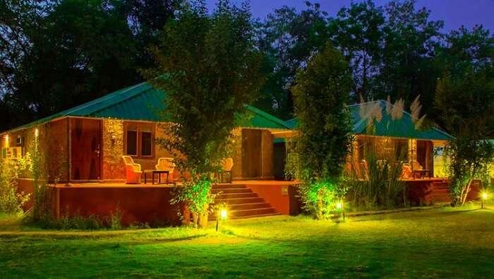 view of jungle resort at night