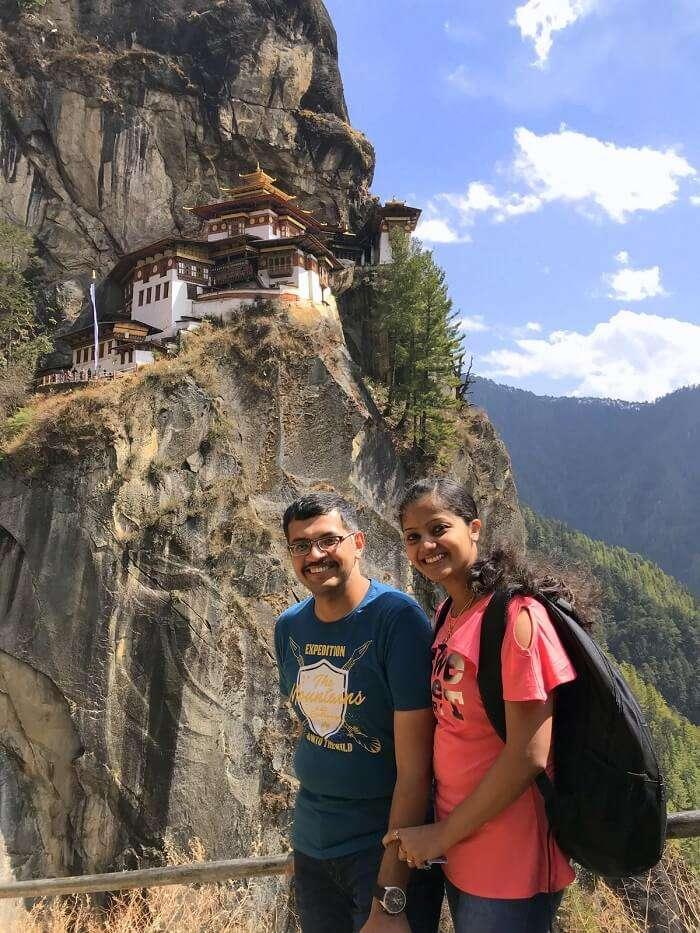 mahesh bhutan trip selfie near tiger's nest