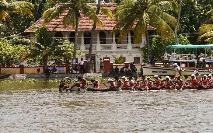 men rowing a boat