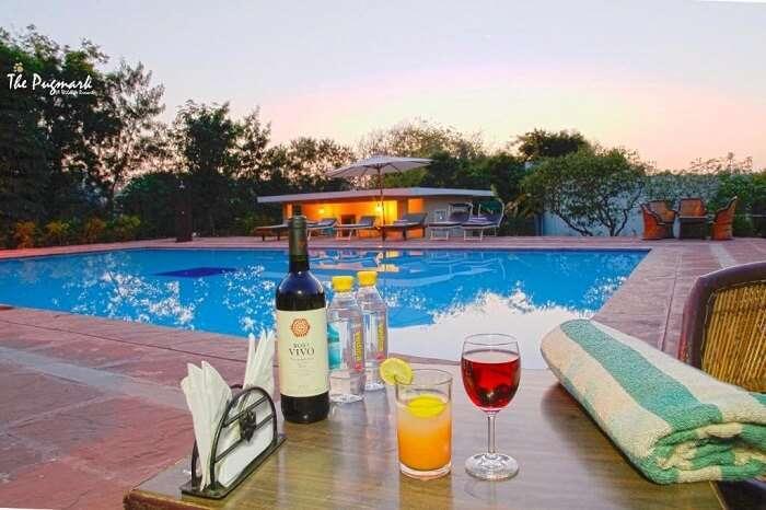 drinks near pool in pugmark resort
