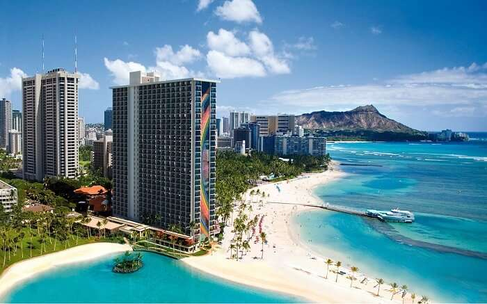 the tall building of Hilton on the gorgeous beach