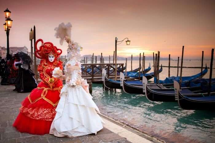 lovely sunset during Venice Carnival