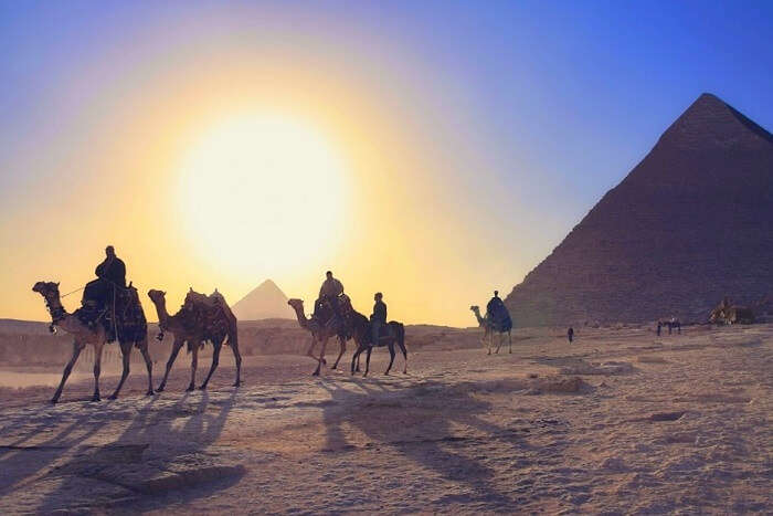 Camel ride into the sunset at Giza