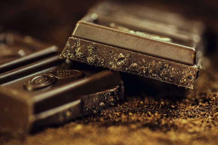 Pieces of dark chocolate bar