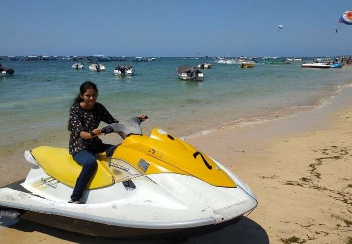 woman jet skiing