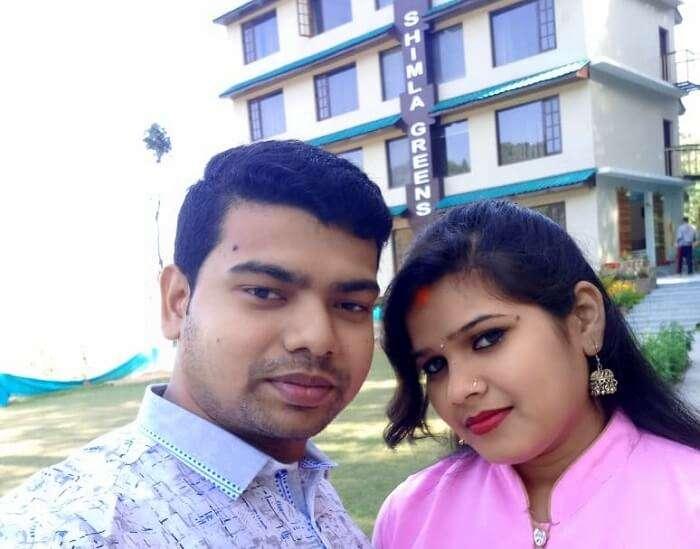 couple outside shimla greens hotel