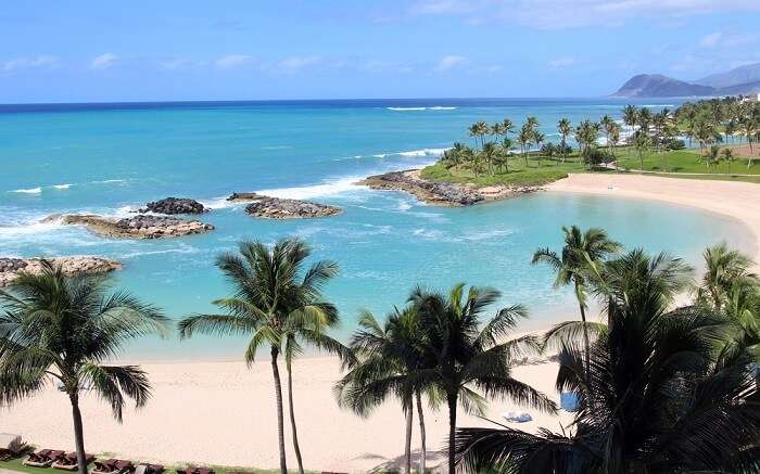 Ko Olina Beach immersed in blue waters
