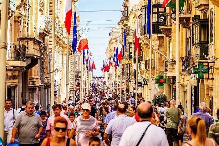 People in Valletta Malta