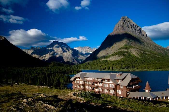 Many Glacier hotel and view