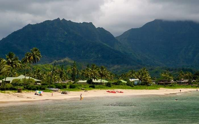 The gorgeous Hanalei Bay Beach beach