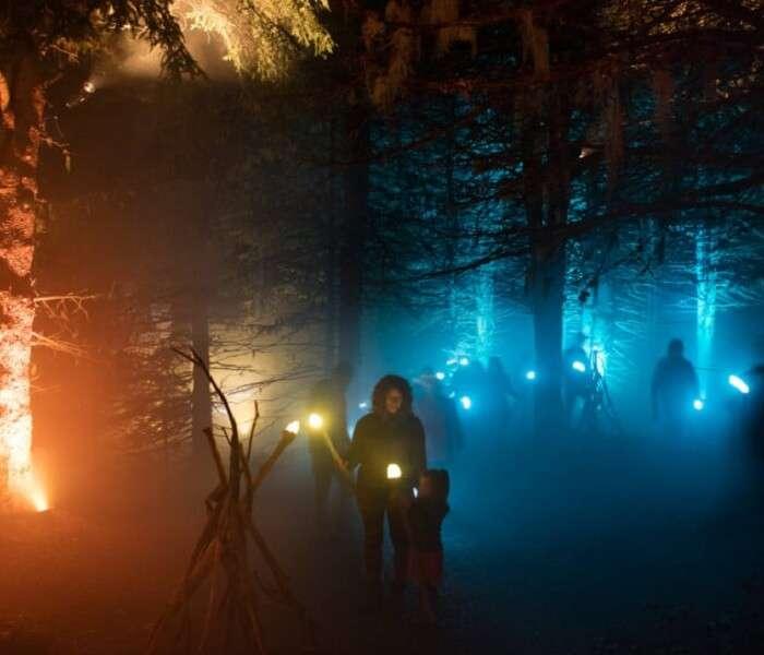 People enjoying nighttime walk in Whister