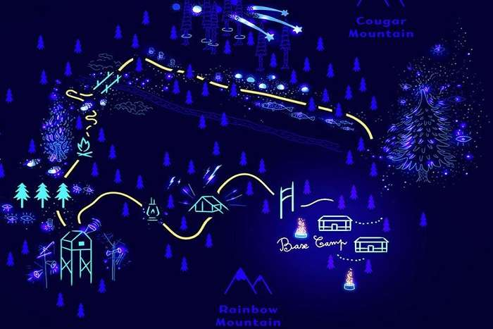 Map of nighttime walk in Whister
