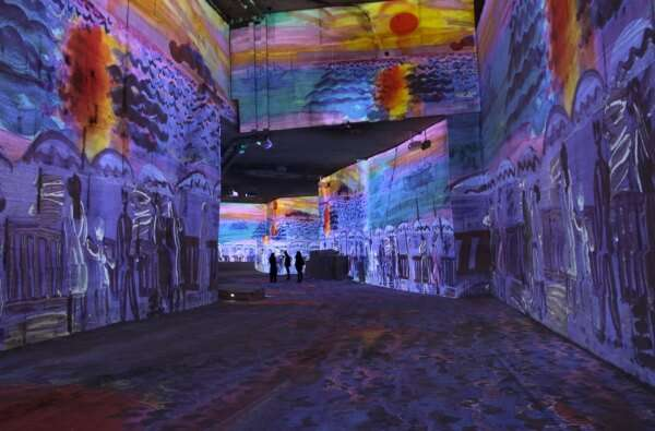paintings and sculptures are projected