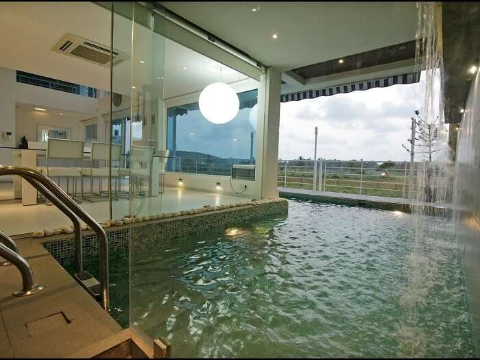 indoor pool and chic interiors