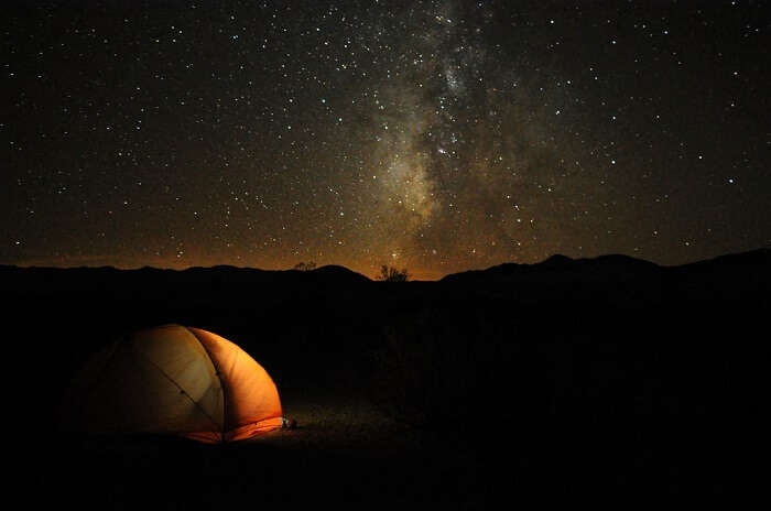watching night sky from tent