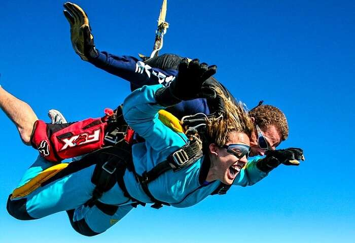 Woman enjoying skydiving