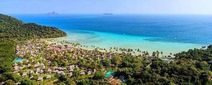 phi phi island beach resort aerial