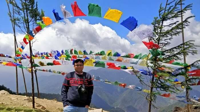 rohit bhutan family trip travelogue pic in prayer flags