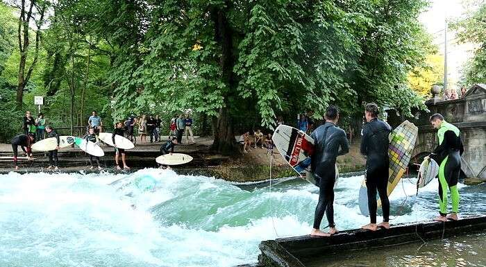 Surfing at Eisbach river