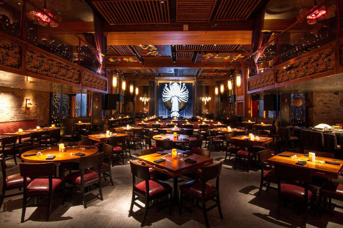 restaurant serves Asian cuisine and has a decor to match