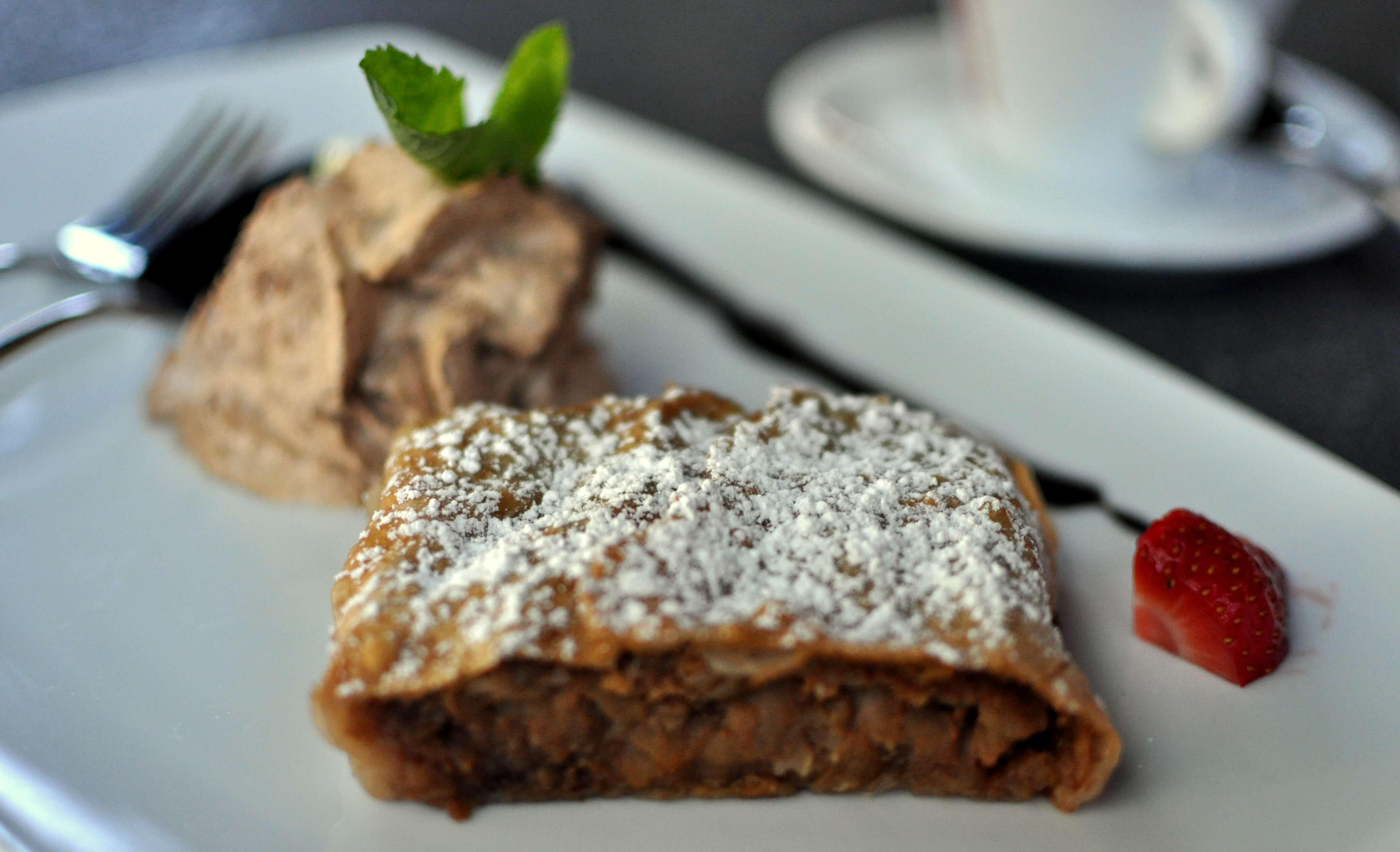 the sweet crusty Apfelstrudel