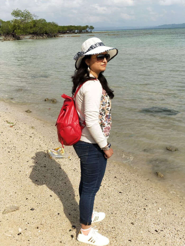 wife on beach